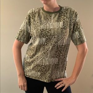 Vintage Safari Green Geometric Print Shirt